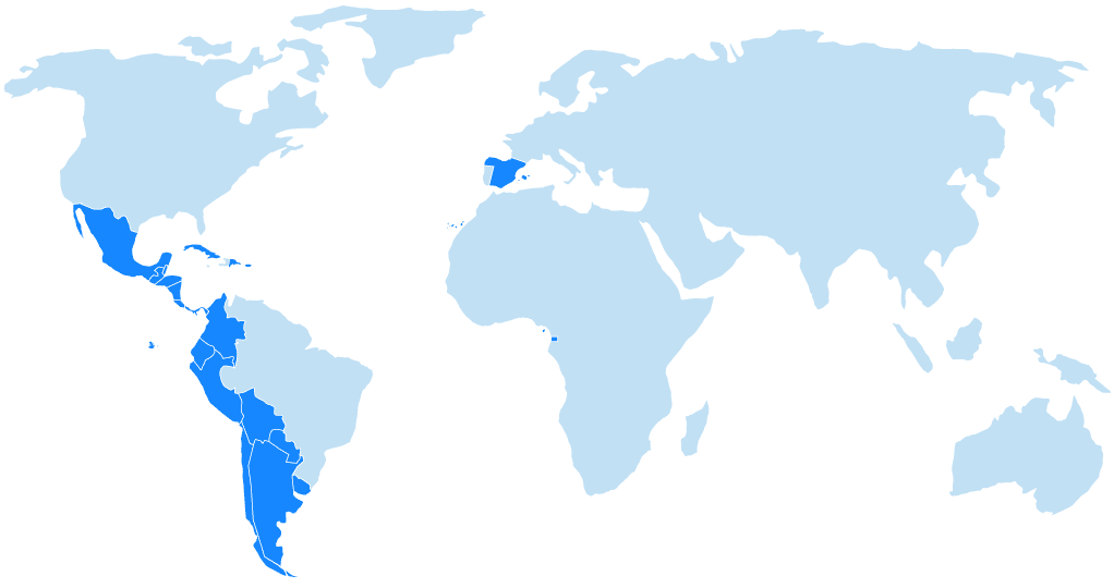 World Map of Countries of Spanish Speakers